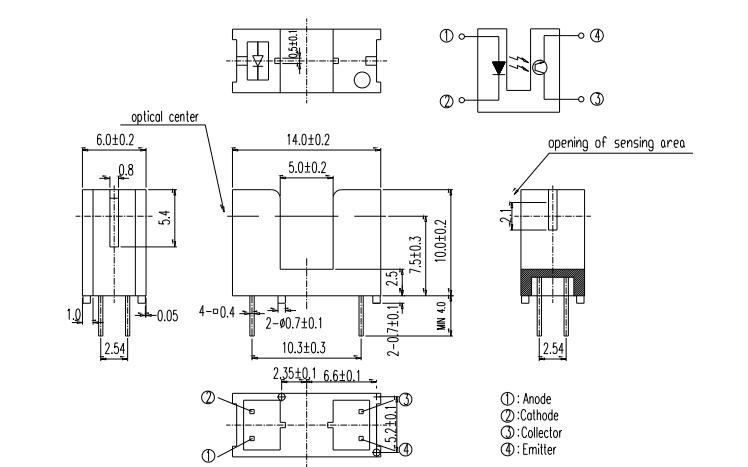 ITR9606-F光槽型光电开关的数据手册免费下载
