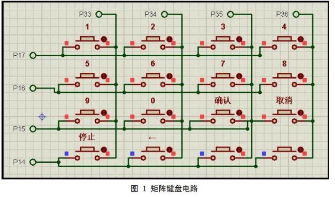 51单片机对矩阵键盘实现16个按键操作的电路设计