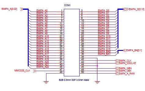 TMS320C6748 OMAPL138核心板连接器引脚分布图免费下载