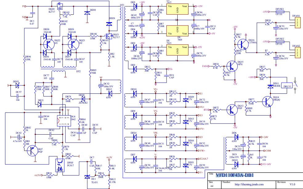 台达变频器VFD主板VFD110F43A-DB1的电路原理图免费下载