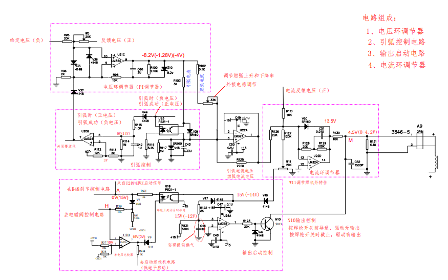 奥太电焊机电流电压控制输出电路原理图和电路分析免费下载