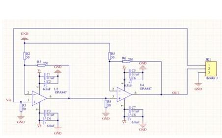 宽带放大芯片OPA847放大电路原理图和PCB图免费下载