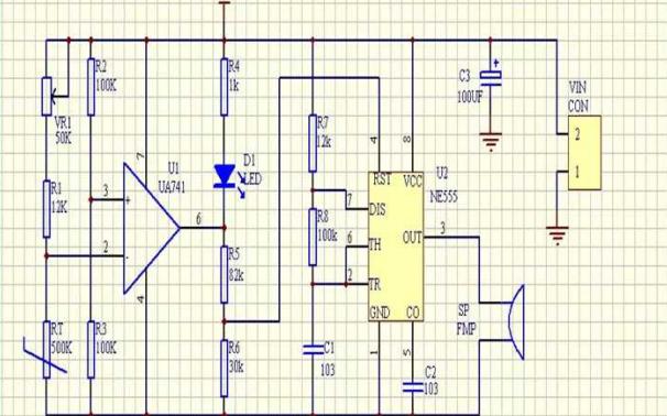 不用单片机的温度传感器电路原理图免费下载