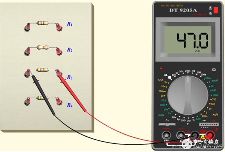 万用表测直流电阻方法图片