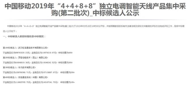 中国移动公布了2019年4+4+8+8独立电调智能天线产品采购结果