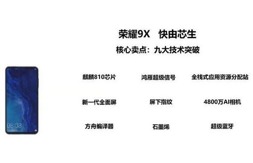 荣耀9X手机取得了九大技术突破将搭载一个叫鸿雁超级WiFi信号的功能