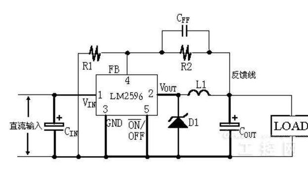 LM2596开关电压调节器产生负电的PCB图