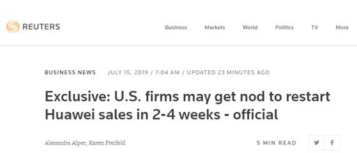 美国政府将可能在2-4周内开始向华为颁发重新供货的许可证