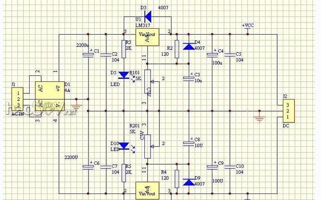制作LM317可调直流稳压电源的详细资料和PCB与电路图免费下载