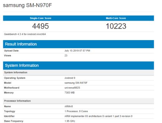 三星Note10手机Exynos 9820版本跑分曝光单核4495分多核10223分