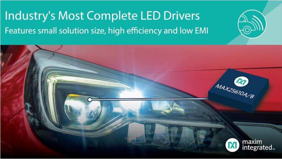 Maxim全新2款LED驱动器 为汽车照明提供更...