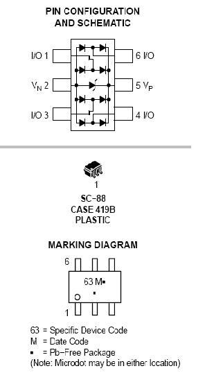 NUP4202W1 用于高速数据线的电涌保护器 低电容