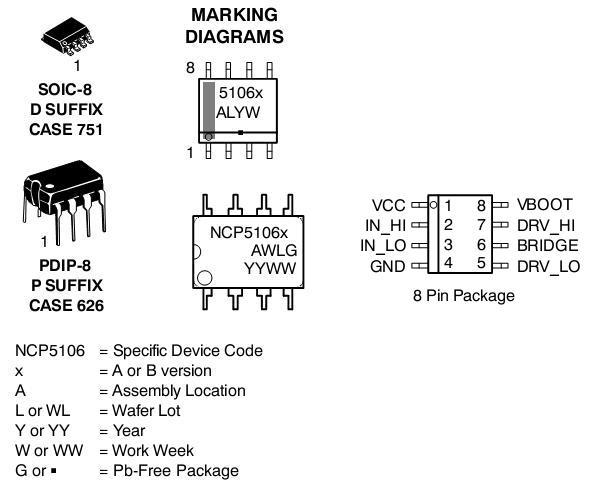NCV5106 MOSFET / IGBT驱动器 高压 高压侧和低压侧
