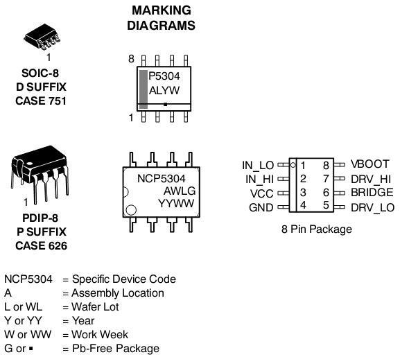 NCP5304 MOSFET / IGBT驱动器 高压 高压侧和低压侧 双输入