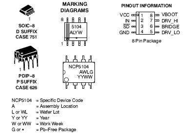 NCP5104 单输入高侧和低侧功率MOSFET驱动器