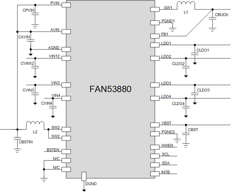 FAN53880 一個降壓 一個升壓和四個LDO PMIC