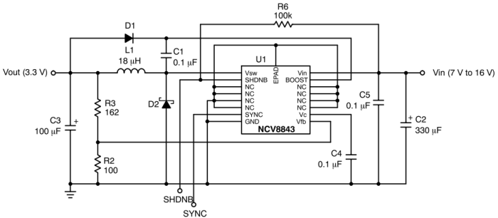 NCV8843 降压稳压器 1.5 A 340 kHz 具有同步功能