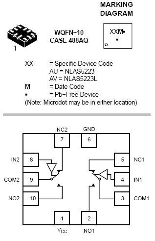 NLAS5223 模拟开关 双SPDT 0.5欧...