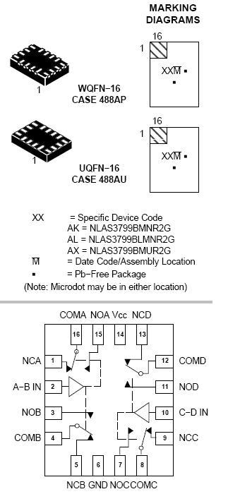 NLAS3799B 模拟开关 双DPDT 超低RON