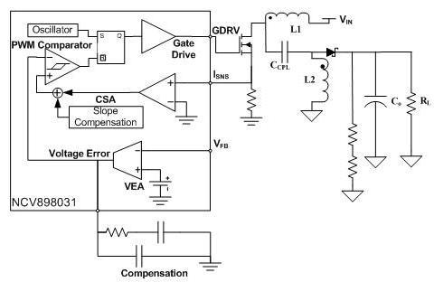 NCV898031 非同步SEPIC /升压控制器 2 MHz