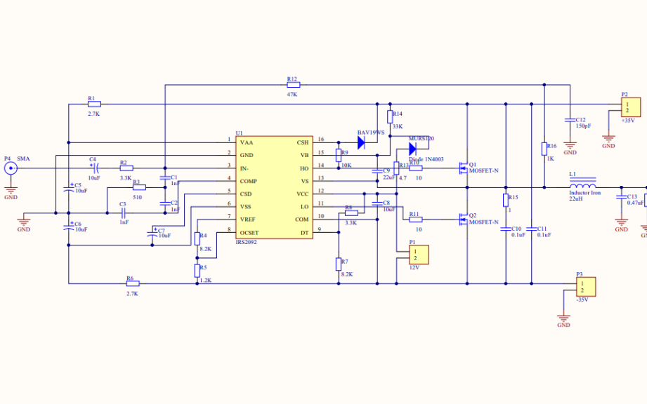 IRS2092功率放大器电路原理图免费下载