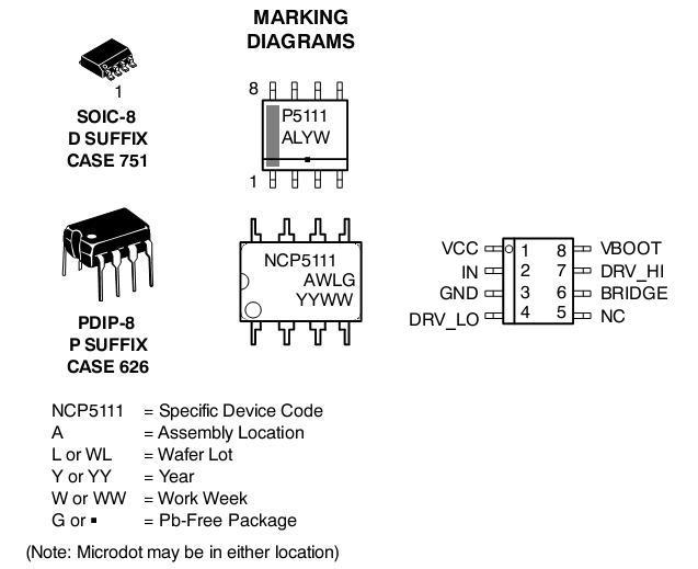 NCP5111 功率MOSFET / IGBT驱动器 单输入 半桥