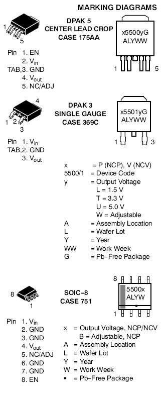 NCV5501 LDO稳压器 500 mA 低压差 高PSRR