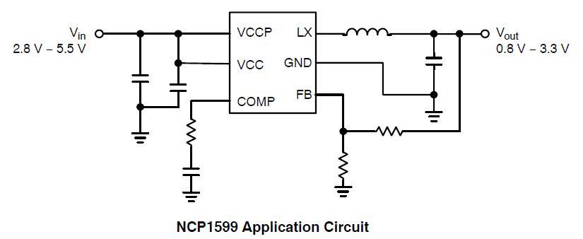 NCP1599 同步降压转换器 1 MHz 3.0 A.