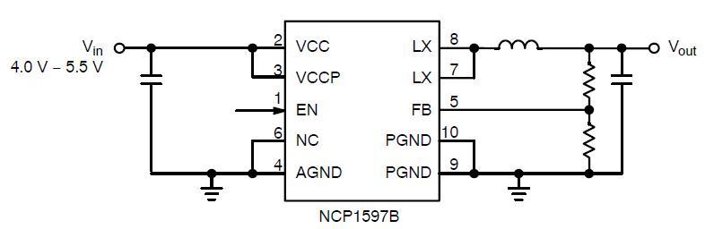 NCP1597B 同步降壓轉換器 1 MHz 2.0 A.