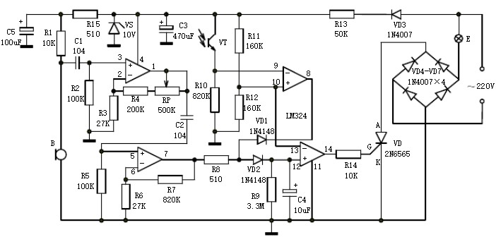 What is the basic principle of the sound and light control electronic switch circuit