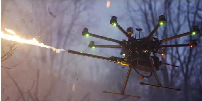 你见过能喷火的无人机吗