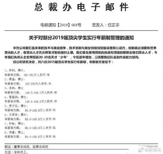 华为招聘顶尖学生:刚毕业博士年薪最多可拿201万