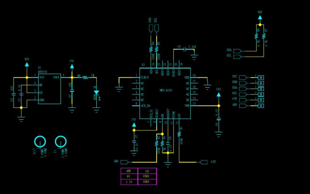 MPU6050陀螺仪传感器的电路原理图免费下载