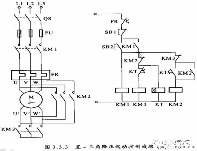 星三角降压启动电路是一个比较经典的电路图片