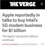 苹果公司计划以10亿美元买下英特尔5G基带业务