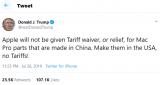 特朗普发推警告,禁止苹果产线迁往中国!