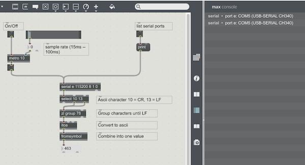怎样用Arduino发送和接收来自Max/MSP的数据
