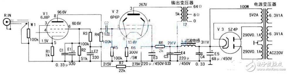 6p6p/2p2/300b电子管功放电路图