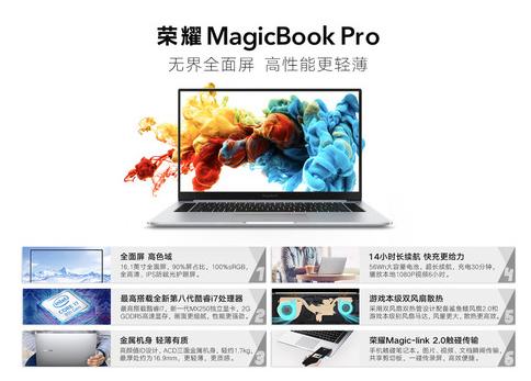 荣耀MagicBook Pro搭载酷睿i7处理器屏占比高达90%获得了用户一致好评