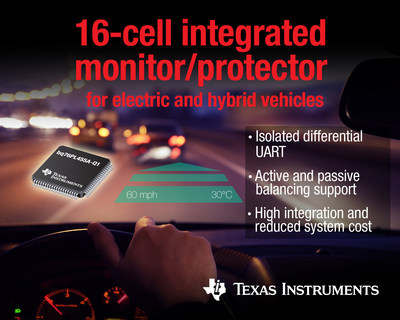 电动车和电网存储提供首款16芯集成锂离子监控器和保护器