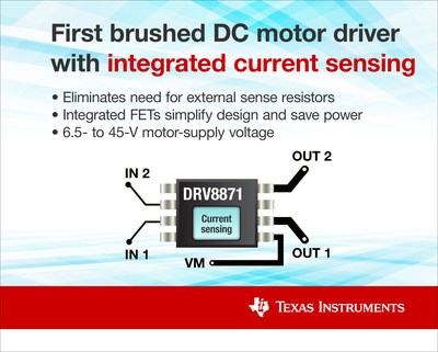 带集成FET的电机驱动器系列简化了设计并节省了12-和24 V电机