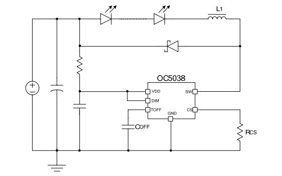 OC5038内置MOS开关降压型LED恒流驱动器的数据手册免费下载