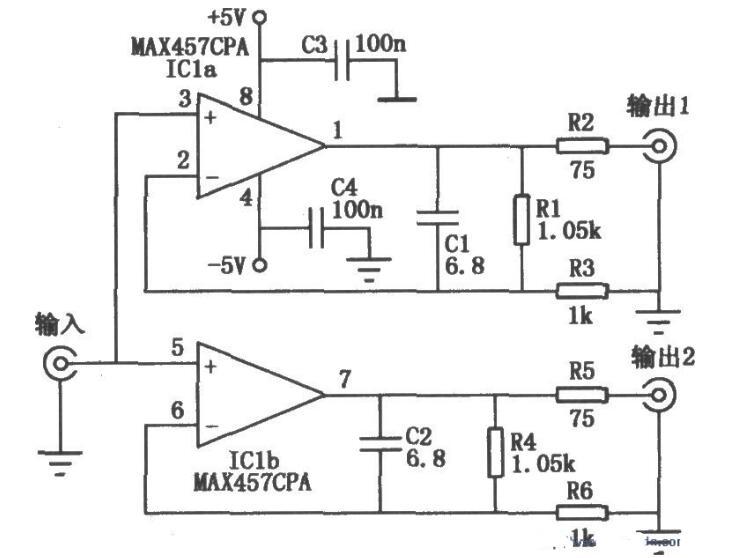 采用MAX457构成的双路视频放大电路图