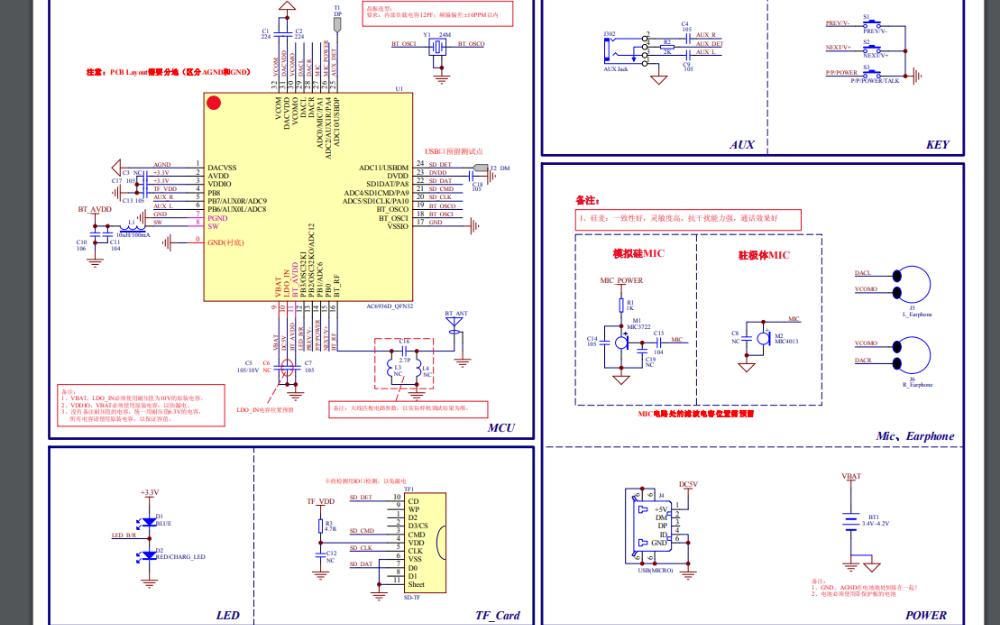 AC6936D立体声蓝牙耳机标准电路原理图99热这里只有精品下载