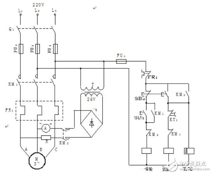 時間繼電器控制電動機能耗制動線路圖