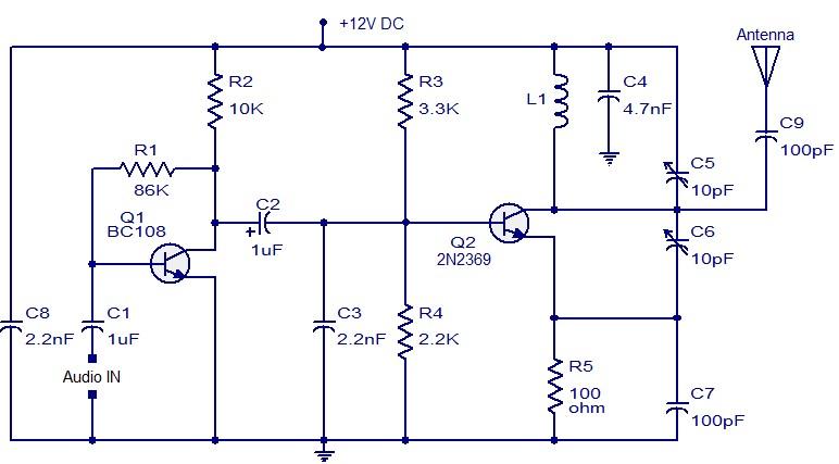 调频发射机的组成及简易电路的分析
