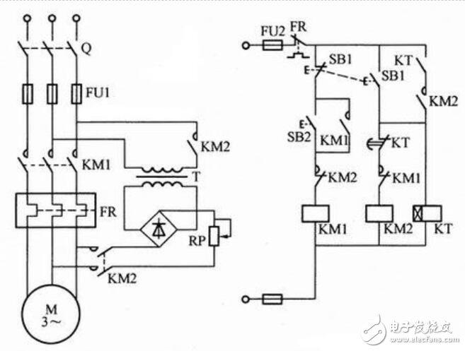 时间继电器控制电动机能耗制动线路图