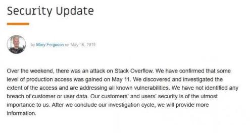 知名编程问答社区遭受攻击,约有 250 个用户数...