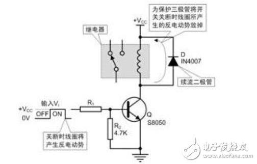 图1 用npn三极管驱动继电器电路图