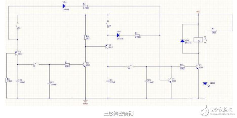 三极管组成的密码锁电路